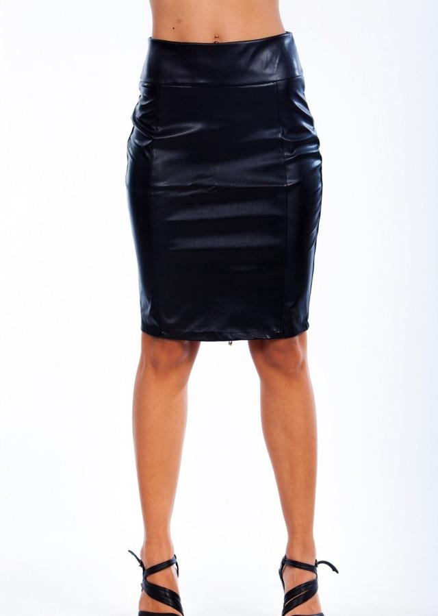 Женская кожаная юбка черная на молнии