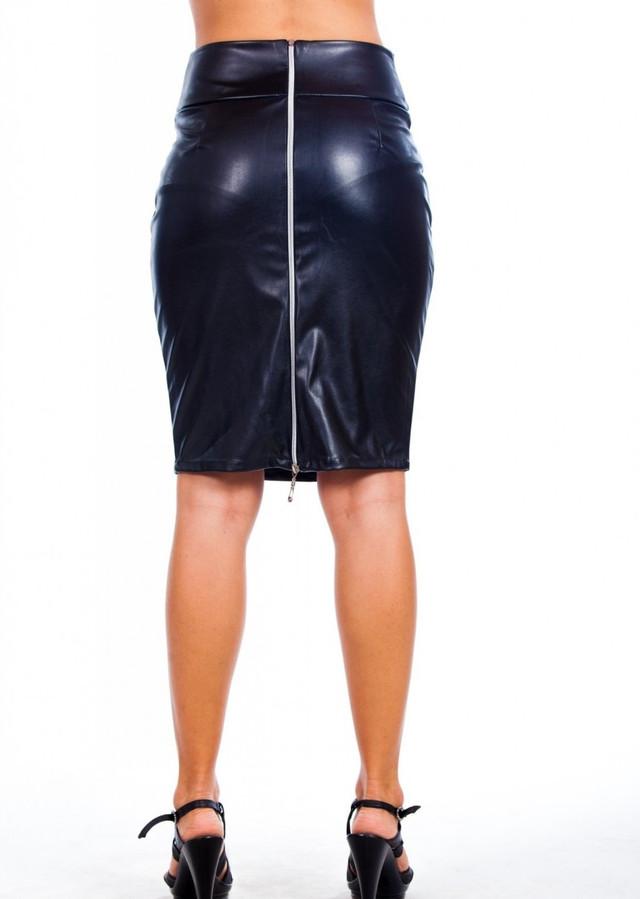 Женская кожаная юбка черная