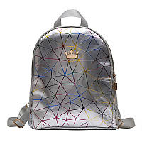 Женский рюкзак мини паутинка с короной школьный портфель маленький міні жіночий Серебряный