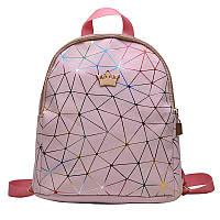 Женский рюкзак мини паутинка с короной школьный портфель маленький міні жіночий Розовый