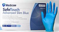 Перчатки нитриловые Mediсom неопудренные 100 шт голубые