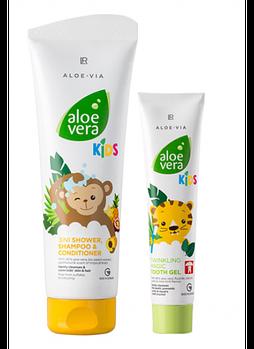 Зубная гель-паста + Шампунь-кондиционер для детей от 3 лет Aloe Via Kids Набор