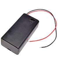 Отсек для батареи 6F22 (Крона) закрытый с проводами и выключателем