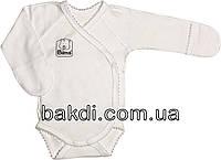 Детское боди рост 56 (0-2 мес.) интерлок белый на мальчика/девочку с закрытыми ручками для новорожденных Ю-183