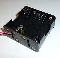 Батарейний відсік  АА x 8 шт 30x58x58 с проводом 15см установка сверху 4 + снизу 4, размер 58.0x63.0