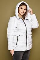 Женская куртка на весну большие размеры 247 / размер 50-62 / цвет белый