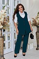 Стильный деловой женский костюм жилет + брюки из костюмной ткани, р.48,50,52,54,56,58,60,62 код 7422Ф