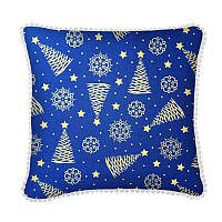 Новогодняя декоративная подушка Christmas Tree Gold Blue PomPon