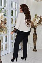 Стильный костюм женский, брючный, комплект блуза + брюки., р.48,50,52,54,56,58,60,62 код 3316Ф, фото 2