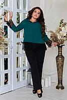 Стильный костюм женский, брючный, комплект блуза + брюки., р.48,50,52,54,56,58,60,62 код 3316Ф
