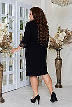 Сукня полуприталеного силуету з крепдайвинга, довжиною трохи нижче коліна, р. 48,50,52,54,56,58,60,62 код 3302Ф, фото 3