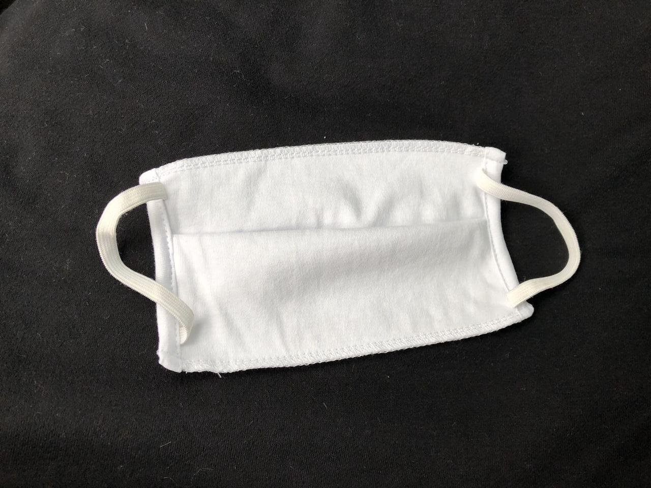 Многоразовая трехслойная защит. маска для лица на резинках трикотажная, белая