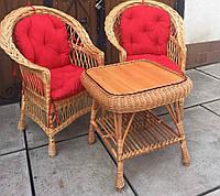 Мебель плетеная с накидками | набор плетеной мебели с подушками | 2 кресла и стол плетеный