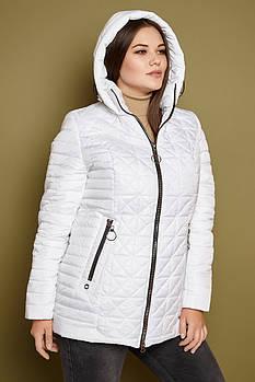 Женская демисезонная куртка с капюшоном 251 / размер 50-62 / цвет белый