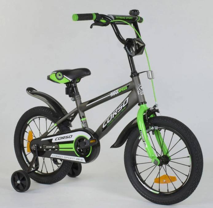 Велосипед 16 дюймов 2х колёсный CORSO ST- 5095 стальная рама стальные противоударные диски звоночек