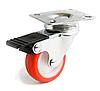 Аппаратные ролики повышенной износостойкости с поворотным кронштейном с тормозом, Ф50 мм, нагрузка 50 кг