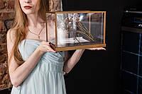"""Прозора весільна скринька """"Сяйво"""" з золотим обрамленням та нішею для декору (замочок та ключ в комплекті)"""