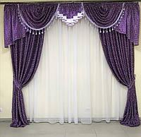 Комплект блэкаут штор и ламбрекеном с атласом с вензелями в сиреневом цвете на окно 3м (для спальни, гостиной)