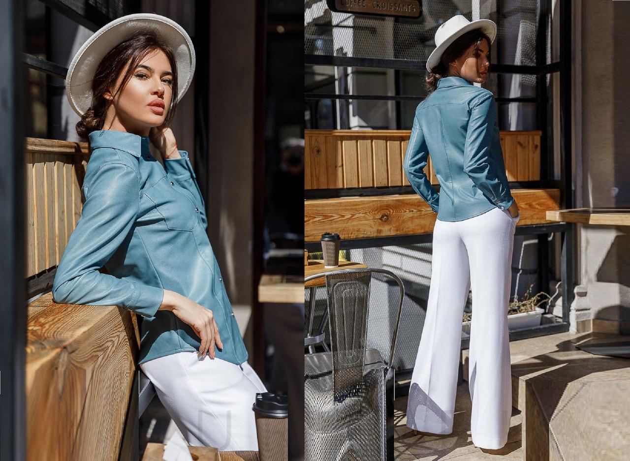 Классическая женская рубашка из искусственной кожи  GR-30450