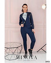 """Костюм жіночий брючний в стилі """"мілітарі"""" з джинсу-стрейч ( добре тягнеться), р. 42,44,46,48,50,52,54 код 3260Ф, фото 2"""