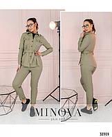 Прогулочный брючный женский костюм из джинса-стрейч - куртка-рубашка и брюки, р.42,44,46,48,50,52,54 код 3265Ф