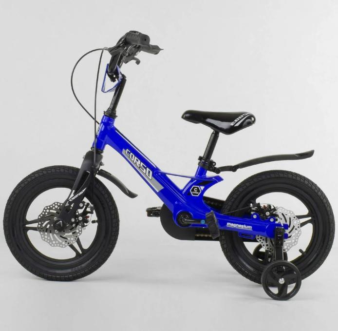 Велосипед 14 дюймов 2х колёсный CORSO MG-85328  магниевая рама литые диски дисковые тормоза
