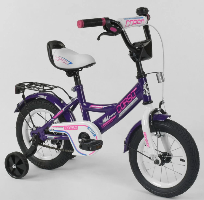 Велосипед 12 дюймов 2х колёсный CORSO CL-12 D 0485  ручной тормоз звоночек сидение с ручкой доп. колеса