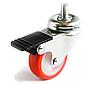 Аппаратные ролики повышенной износостойкости с поворотным кронштейном с отверстием с тормозом, Ф40 мм