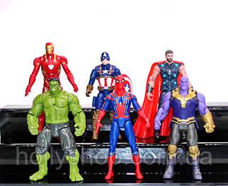 """Ігрові Фігурки """"Avengers"""" Месники Халк, Танос, Тор, Спайдермен, Капітан Америка - 17см, світло, рухливі. 6шт"""
