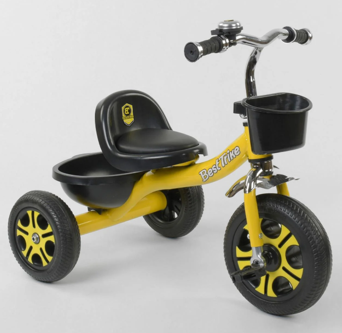 Велосипед 3-х колесный LM-9033 Best Trike желтый пено колесо метал.рама звоночек 2 корзины