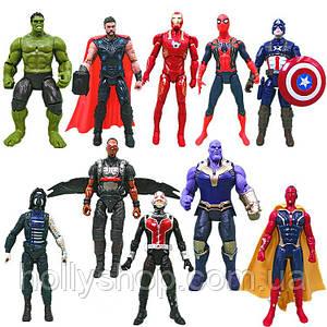 """Ігрові Фігурки """"Avengers"""", набір з 10 головних героїв - 17см, світло, рухливі."""