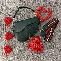 Женская маленькая седельная сумка пистолет зеленая