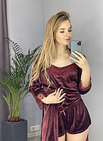 Велюровая пижама шорты и майка S бордо