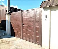Распашные ворота из сендвич-панелей Doorhan ш2800 в2000 калитка ш900 в2000