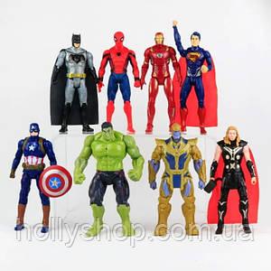"""Игровые Фигурки """"Avengers"""", набор из 8 главных героев - 17см, свет, подвижные."""