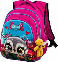 Школьный рюкзак Winner One для девочки розовый с совой в цветочном поле + брелок мишка