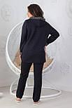 Прогулочный спортивный костюм женский трикотажный, черный, фото 3