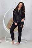 Прогулочный спортивный костюм женский трикотажный, черный, фото 2