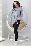 Прогулочный спортивный костюм женский трикотажный, серый, фото 5
