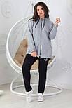 Прогулочный спортивный костюм женский трикотажный, серый, фото 4