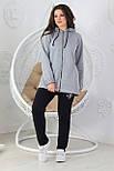 Прогулочный спортивный костюм женский трикотажный, серый, фото 3