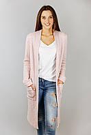 Кардиган женский вязаный теплый с карманами весна цвет розовый пудра  бренд VCS