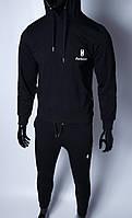 Кофта с капюшоном кенгуру трикотажная мужская 491335 черная в стиле бренда