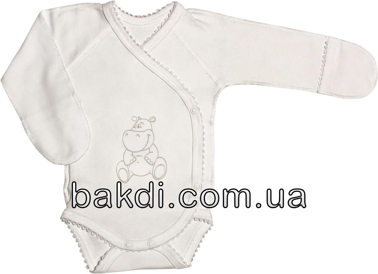 Детское боди рост 56 0-2 мес трикотажное интерлок белое на мальчика девочку бодик с закрытыми ручками для новорожденных малышей Я183