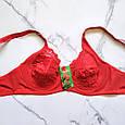 Бюстгальтер без поролона кружевной 90D красный, фото 5