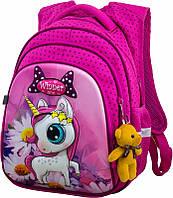 Рюкзак школьный Winner One для девочки розовый с единорогом на фоне ромашек с брелком