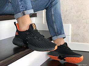 Мужские демисезонные кроссовки Adidas,текстиль,черные с оранжевым, фото 2