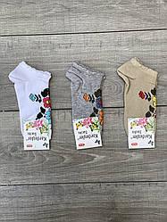 Женские носки короткие хлопок Kardesler с цветками 35-40 12 шт в уп микс 3 цветов