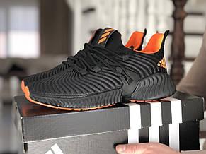 Мужские демисезонные кроссовки Adidas,текстиль,черные с оранжевым, фото 3