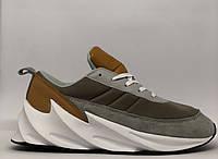 Кроссовки мужские в стиле Adidas Boost 3385-4 серые с рыжим